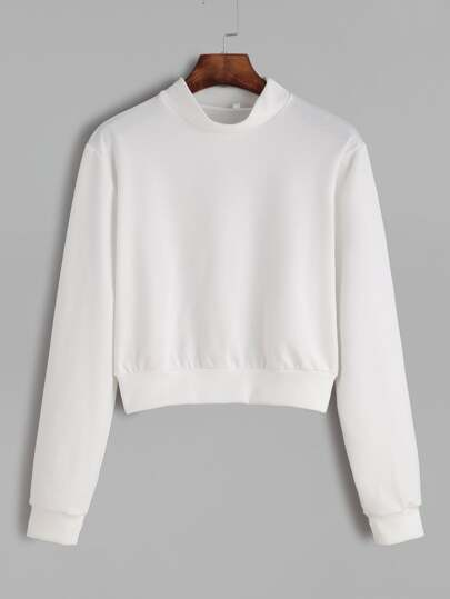 White Band Collar Crop Sweatshirt