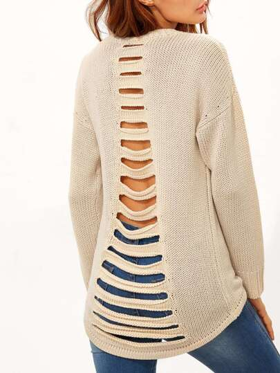 Apricot Ladder Cutout Back High Low Sweater