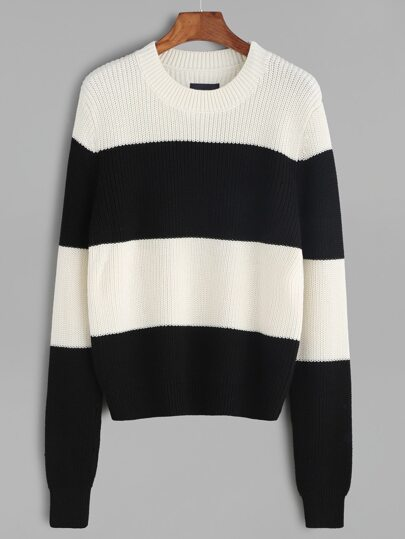 Black And White Wide Striped Sweater