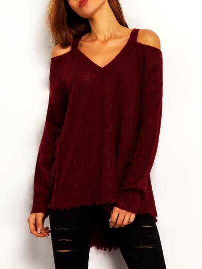 Burgundy Cold Shoulder Loose Sweater
