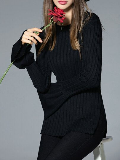 Black Crew Neck Knit Split Sweater