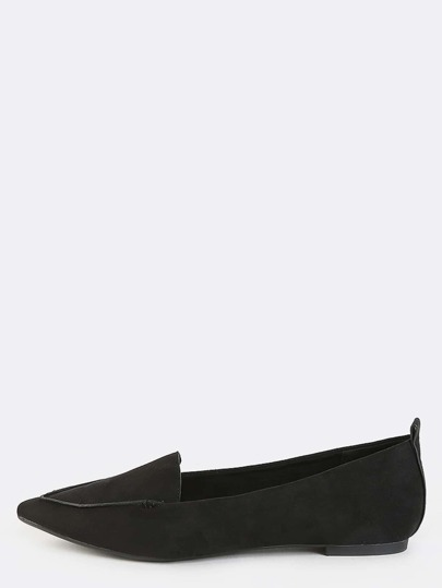 Pointy Toe Faux Suede Flats BLACK