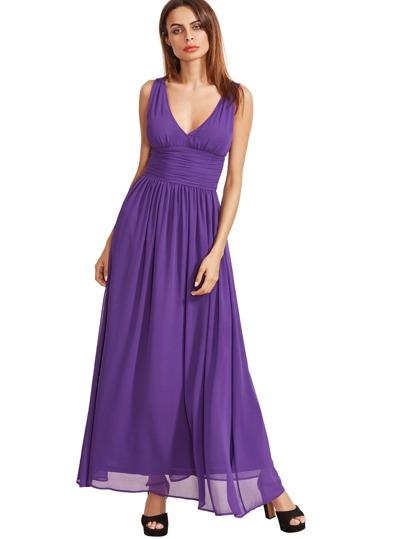 Púrpura sin mangas cuello en V vestido maxi