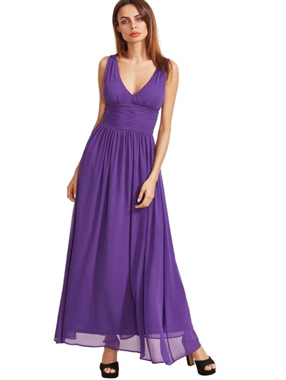 Lila Ärmelloses V-Ausschnitt Maxi Kleid