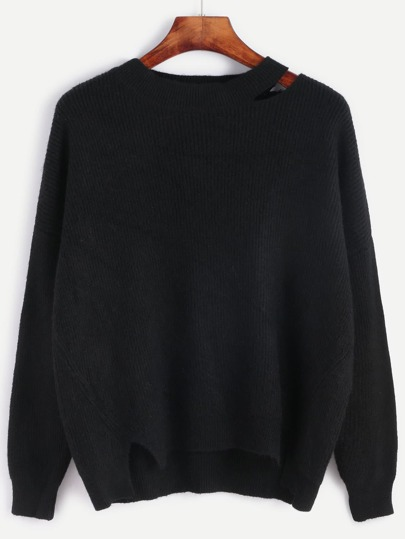 Black Drop Shoulder Seam Distressed Sweater