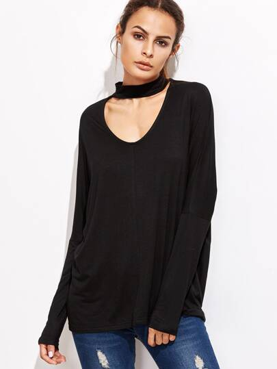 Black Cutout Choker Drop Shoulder T-shirt