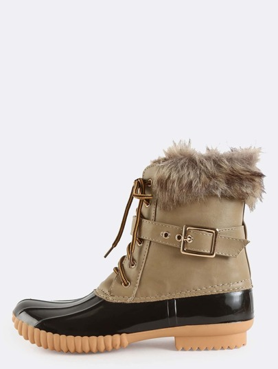 Contrast Ankle Duck Boots TAUPE