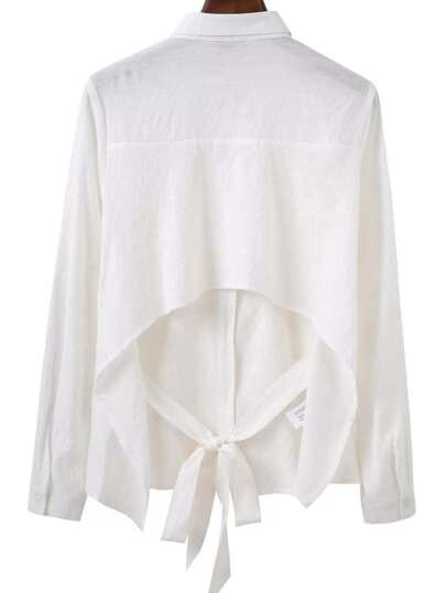 White Open Back Bow Tie Blouse