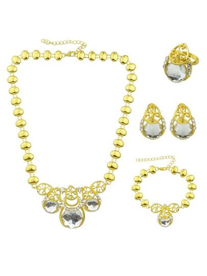 White Elegant Rhinestone Earrings Bracelet Ring Necklace Set