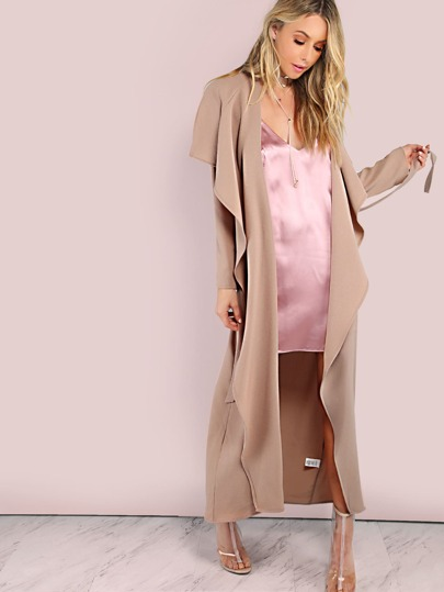 Lightweight Crepe Lapel Duster Coat WALNUT