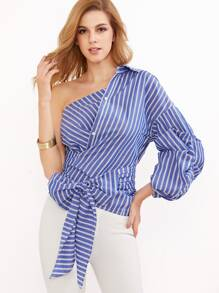 One Shoulder Striped Wrap Around Button Down Top