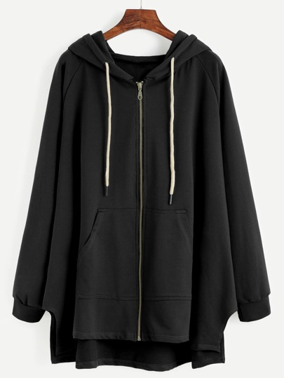 Black Raglan Sleeve Drawstring Hooded Zipper Sweatshirt