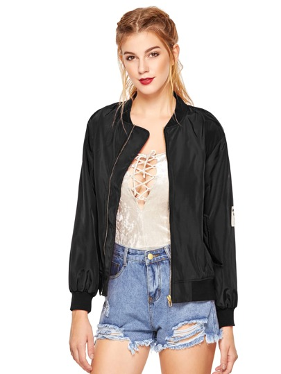 Black Stand Collar Pockets Bomber Jacket