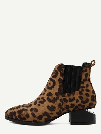 Bottines en suédé léopard cheville élastique bout pointu