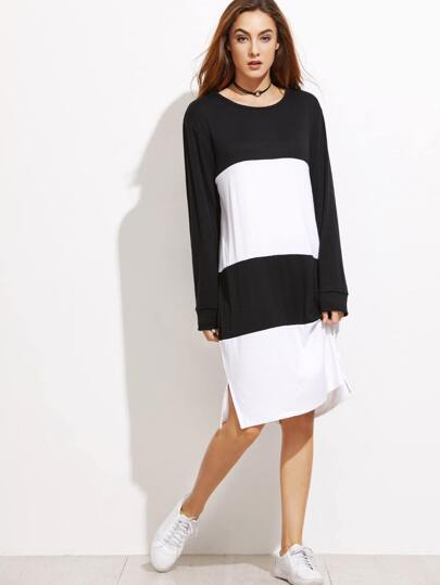 Color Block Slit Side Sweatshirt Dress