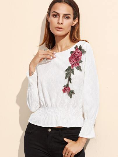 White Embroidered Applique Lace Blouse