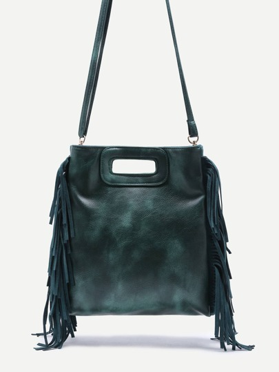 Green Faux Leather Fringe Tassel Crossbody Bag