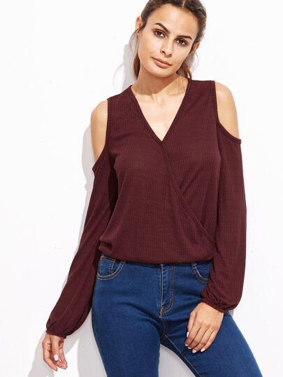 Burgundy Ribbed Open Shoulder Wrap T-shirt