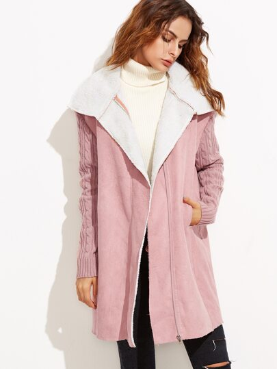 Pink Cable Knit Sleeve Faux Shearling Coat