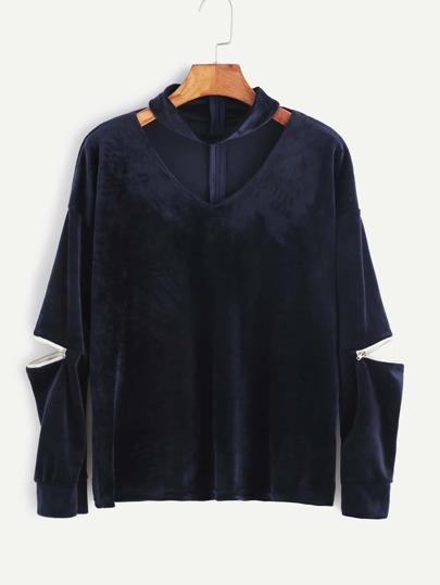 Sweat-shirt en velvet découpé avec zip - bleu marine
