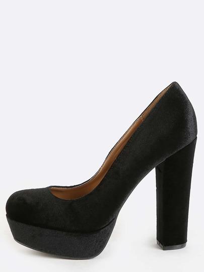 Chunky Heel Velvet Pumps BLACK