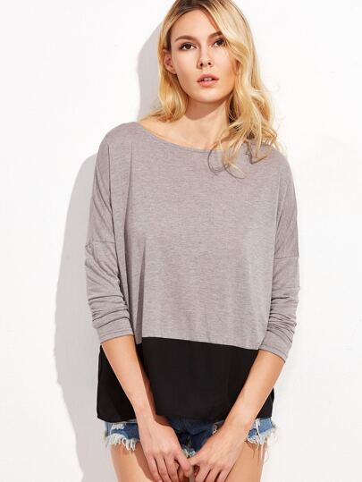 Contrast Dolman Sleeve T-shirt