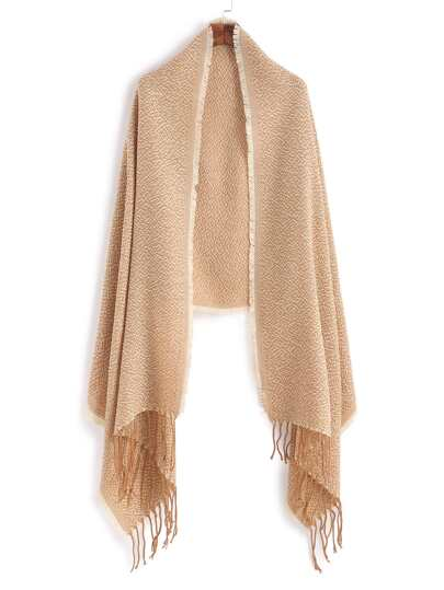 Бежевый модный шарф-накидка с бахромой