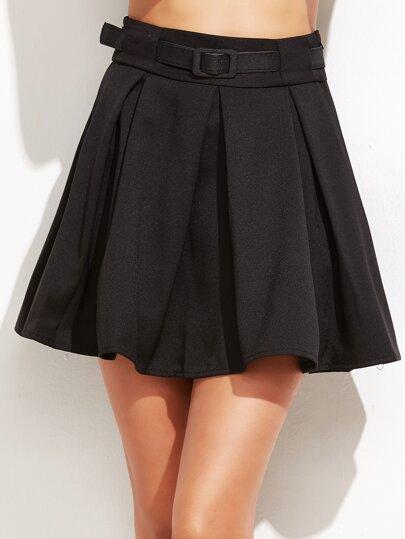 Black Pleated Skirt With Belt