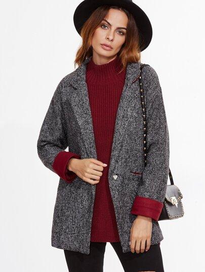Grey Contrast Cuff Single Button Blazer