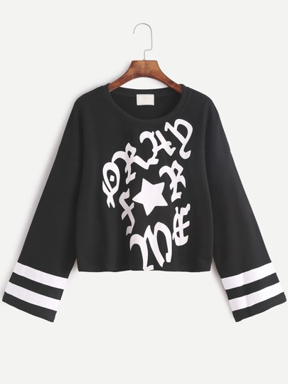Black Varsity Print Drop Shoulder Sweatshirt