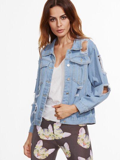 Pale Blue Ripped Denim Jacket