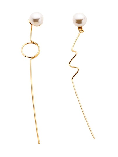 Gold Plated Faux Pearl Minimalist Asymmetrical Earrings