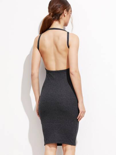 Heather Grey Backless Pencil Dress