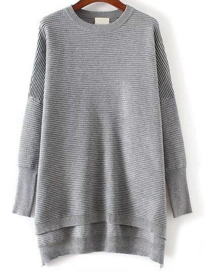 Pull tricoté à nervures - gris