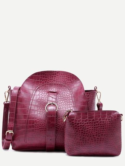 Maroon Croc Embossed PU Buckle Strap Shoulder Bag Set