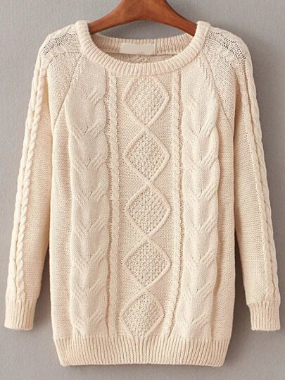 Apricot Cable Knit Raglan Sleeve Sweater