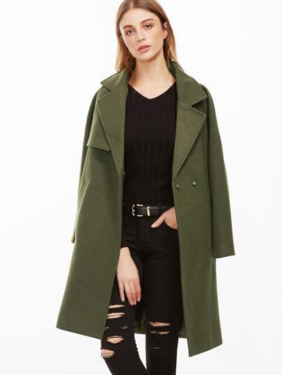 Army Green Raglan Sleeve Coat With Pockets