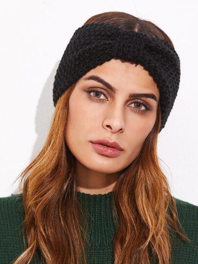 Black Knotted Textured Knit Headband