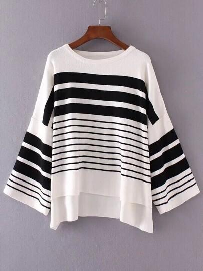 White Striped Drop Shoulder Dip Hem Knitwear