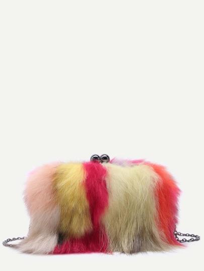 Mulitcolor Fox Hair Crossbody Chain Bag