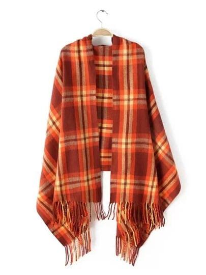 Оранжевый клетчатый шарф-накидка с бахромой
