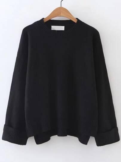 Black Ribbed Trim Dip Hem Sweater