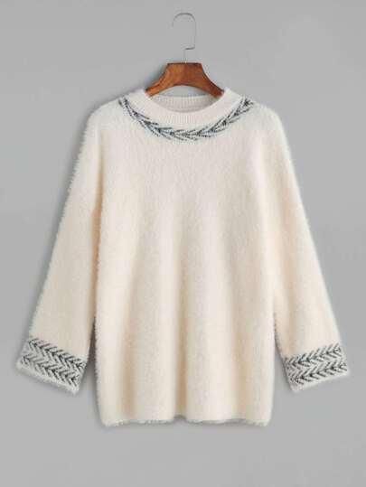 Beige Contrast Trim Fuzzy Sweater