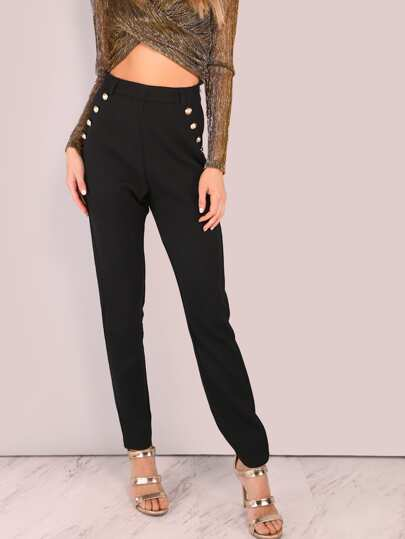 Gold Button Pocket Tailored Trouser Pants BLACK