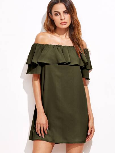 Army Green Off The Shoulder Ruffle Dress
