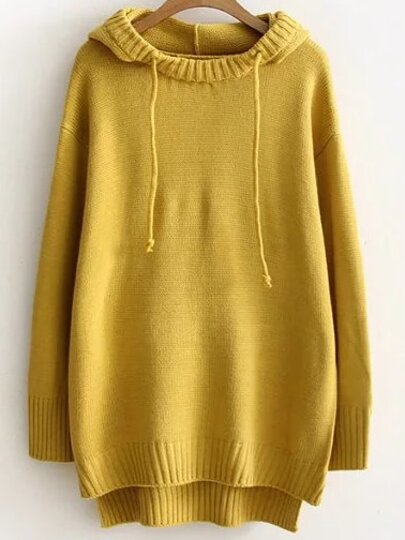 Yellow Ribbed Trim Hooded High Low Sweater