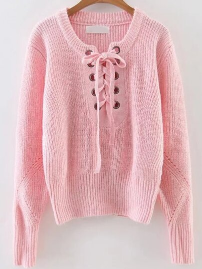 Pink Eyelet Lace Up Ribbed Trim Sweater