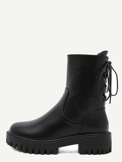 Black PU Lace Up Mid Calf Platform Boots