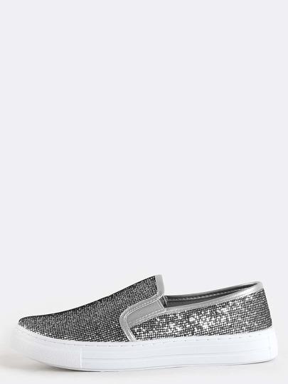 Glitter Slip On Sneakers SILVER