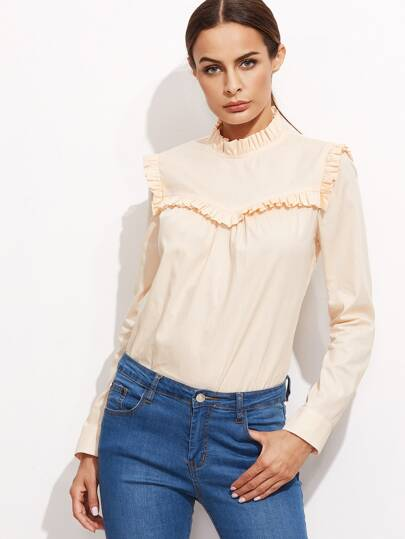 Apricot Ruffle Detail Band Collar Blouse